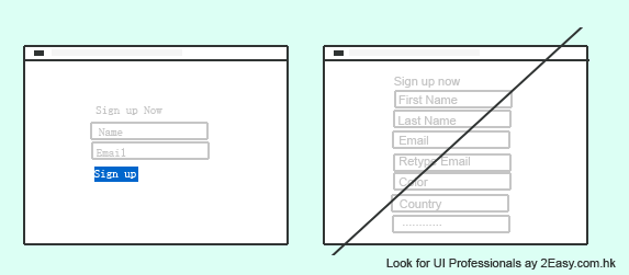 Less Form Fields to enhance user interface (UI) - 2Easy.com.hk